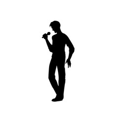 Man singing silhouette set vector