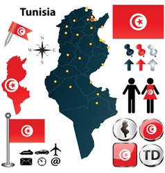 Map of Tunisia vector image