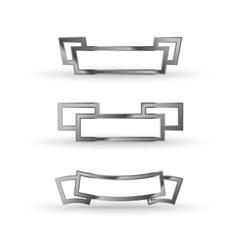 metal ribbon icon set vector image vector image