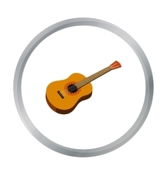 Mexican acoustic guitar icon in cartoon style vector