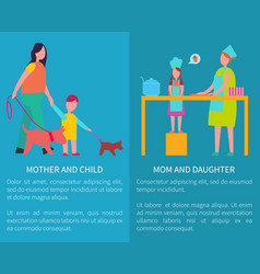 Mother and daughter cooking isolated vector