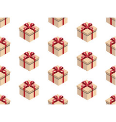 Present seamless pattern isometric gift box vector