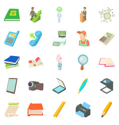 researcher icons set cartoon style vector image