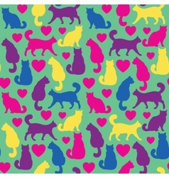 Seamless pattern with cats and hearts vector image vector image
