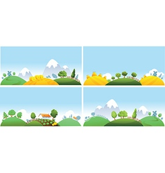 Set of summer landscape vector