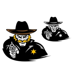 Sheriff with gun in cartoon mascot style vector