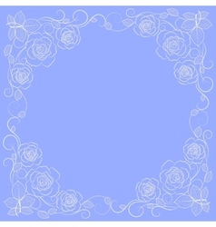Simple floral frame in white vector image