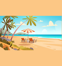 summer vacation loungers on sea beach landscape vector image