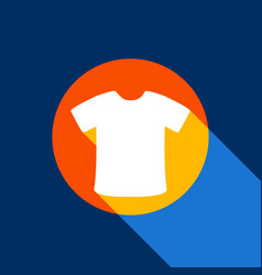 T-shirt sign white icon on tangelo circle vector
