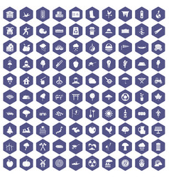 100 tree icons hexagon purple vector