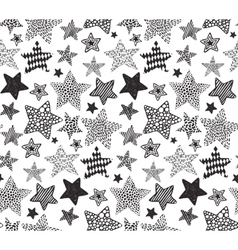 Seamless pattern with black hand drawn vector