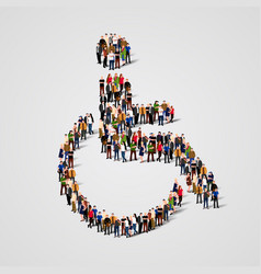 Large group of people in the wheelchair shape vector