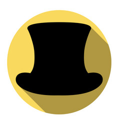 Top hat sign flat black icon with flat vector