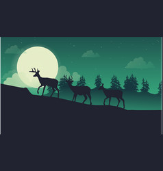 lined deer on the hill landscape of silhouette vector image