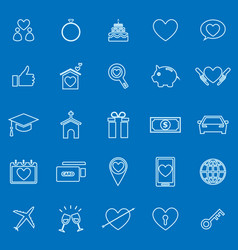 Family line color icons on blue background vector