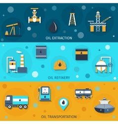 Oil industry flat banners vector