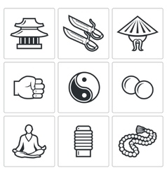 Wing chun icons vector