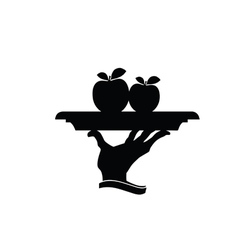 Apple on plate black silhouette vector