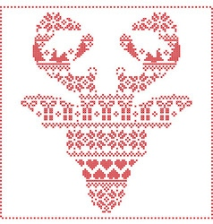Winter pattern reindeer head frontal vector
