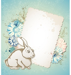Vintage easter card with rabbit vector