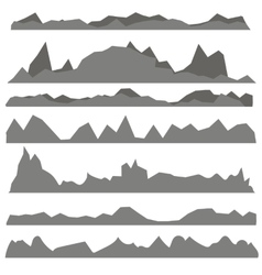 Set of gray mountain silhouettes vector