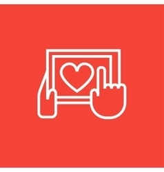 Hands holding tablet with heart sign line icon vector