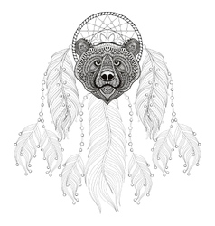 Hand drawn zentangle dreamcatcher with bear head vector