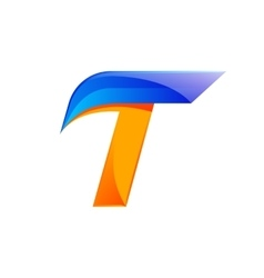 T letter blue and orange logo design fast speed vector