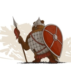 Bear warrior with a spear vector