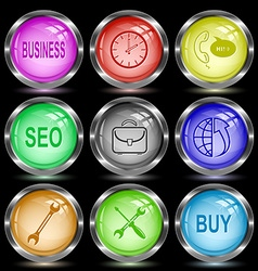 business clock support seo briefcase globe and vector image