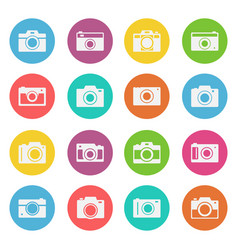 camera icon flat style set vector image