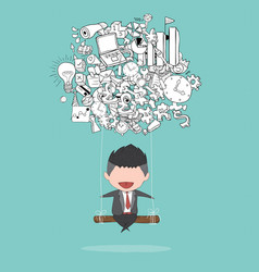 Cartoon businessman swinging on business doodles vector