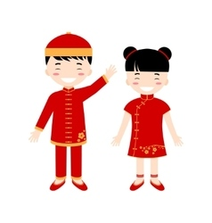 Chinese children - boy and girl isolated on the vector