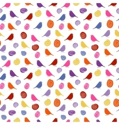 Colorful birds on white background seamless vector image vector image
