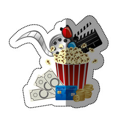 Colorful sticker with popcorn cup with glasses 3d vector