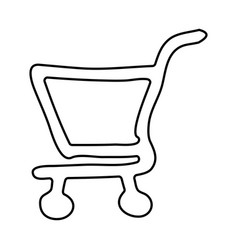Contour supermarket shopping cart icon vector