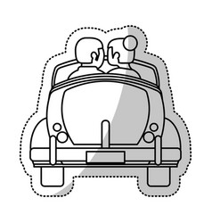 Couple car honeymoon outline vector