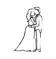 couple wedding love sketch vector image
