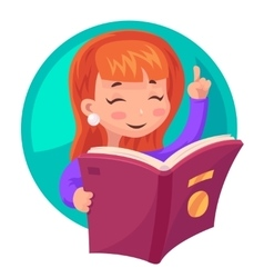 Cute girl mascot character reading book education vector