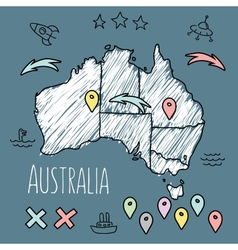 Doodle australia map on blue chalkboard with pins vector