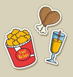 fast food stickers pop art vector image vector image