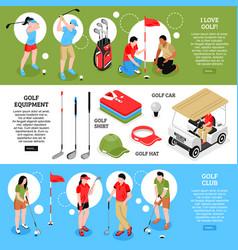 golf horizontal banners set vector image vector image