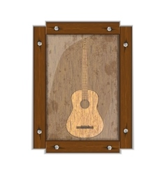 Guitar image on a wooden board in frame vector image