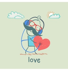 guy listening to the melody of the heart vector image