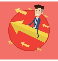 Happy businessman flying to success vector