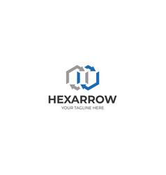 Hexagon and arrow logo template vector
