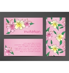 Invitation template with lily flowers on pink vector