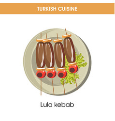 Lula kebab on wooden sticks from turkish cuisine vector