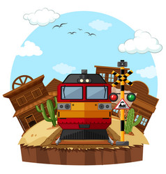 modern train at western town vector image vector image