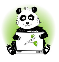 Panda with laptop vector